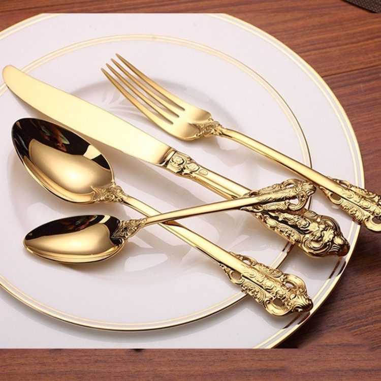 Royal Gold Plated English Cutlery 24 Piece Set