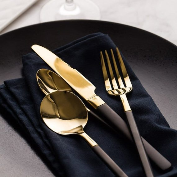 Retro Black Handle Gold Plated Flatware Set
