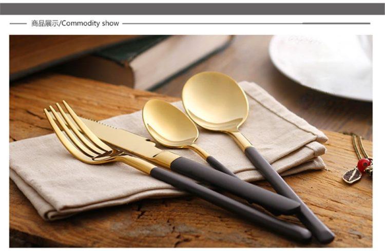 Retro Black Handle Gold Plated Flatware Set