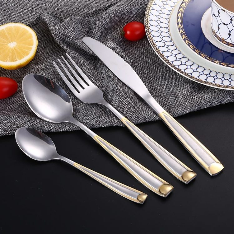 24pcs Gold Plate Stainless Steel Cutlery Set Dinnerware Tableware Silverware Dinner Knife Fork