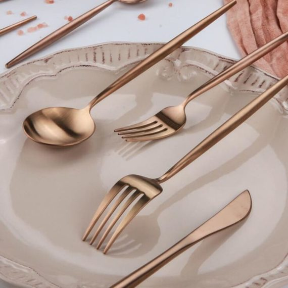 JOMU® Matte Polished 30 Piece Rose Gold Flatware Set