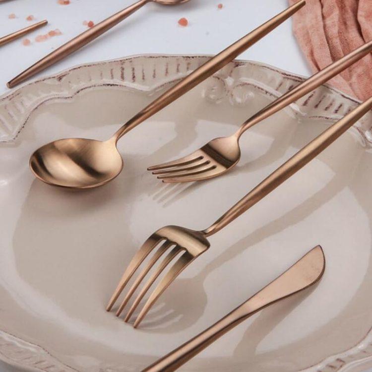 JOMU® Matte Polished 30 Piece Rose Gold Flatware Set