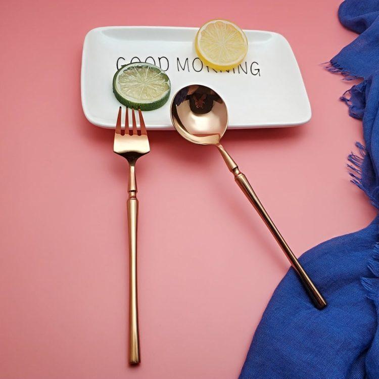 Lexa® Mirror Polished 24 Piece Rose Gold Flatware Set