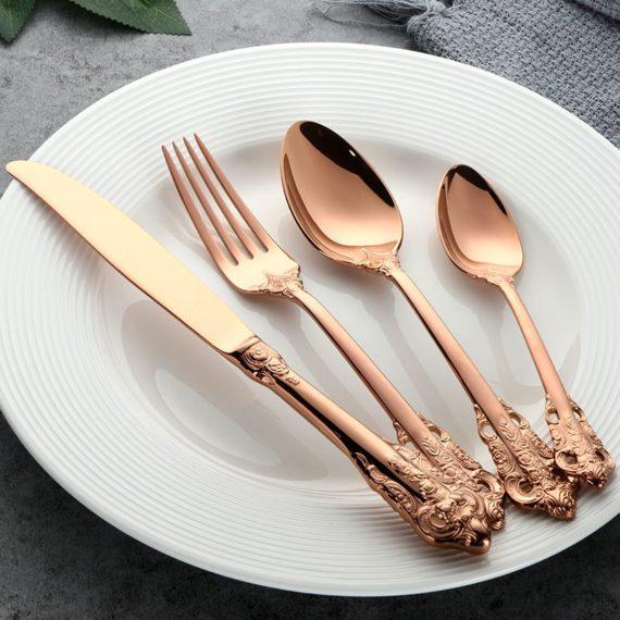 Royal Rose Gold Plated English Cutlery Set
